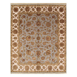 "Pasargad - Pasargad Agra Collection Traditional Hand-Knotted Oriental Silk & Wool Area Rug - ""The brand Pasargad is the perfect blend of class and elegance. These rugs bring traditional sophistication to your home. These rugs feature 100% Premium Wool, hand-knotted into elegant designs, perfect for your traditional decor. The varying pile heights will add a spark of interest to these rugs. Each rug has a dense, soft pile and excellent quality, to ensure that you will enjoy the look and feel of your rug for years to come."""