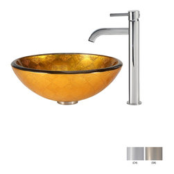 Kraus - Kraus Orion Glass Vessel Sink and Ramus Faucet Satin Nickel - *Add a touch of elegance to your bathroom with a glass sink combo from Kraus