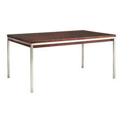 Somerton Home Furnishings Inc - Somerton Soho Leg Table - Dark Brown - 432-64 - Shop for Dining Tables from Hayneedle.com! The super-clean lines of the Somerton Soho Leg Table Dark Brown cut a stunningly modern profile and the contrast between the dark brown wood stain and nickel-finish metal base makes a style statement. The tabletop is solid wood and upon close inspection has a veneer patter called prima vera basket weave. Use alone or as part of the complete Soho collection. The Somerton Soho collection is all about the new contemporary style modern materials and a look that s hip fresh and surprisingly functional. Its hardwood solids are adorned with gorgeously polished real wood veneers in dark brown finish with a subtle prima vera basket weave pattern. Each piece sits atop a square nickel-finished tube base that keeps things all right-angled and is accented with brushed nickel drawer pulls. To clean use only a dry or damp cloth no oil-based cleaners. About Somerton Home FurnishingsFor over 20 years Somerton has meant quality furniture and a quality company. Its warehouses and distribution centers located both in the United States and China provide environmentally friendly manufacturing locations as well as mindful employment spaces. Top-of-the-line materials such as eco-friendly rubberwood solid wood and wood veneers are used to create Somerton pieces. Any Somerton furnishing you choose will make a welcome stylish addition to your home.