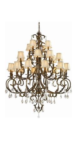 Crystorama - Hand Cut Crystal Bronze Chandelier - Hand cut crystal wrought iron chandelier.