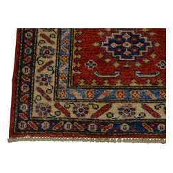 2'x3' Hand Knotted 100% Wool Red Super Kazak Oriental Rug Tribal Design Sh18484 - Our Tribal & Geometric hand knotted rug collection, consists of classic rugs woven with geometric patterns based on traditional tribal motifs. You will find Kazak rugs and flat-woven Kilims with centuries-old classic Turkish, Persian, Caucasian and Armenian patterns. The collection also includes the antique, finely-woven Serapi Heriz, the Mamluk Afghan, and the traditional village Persian rug.