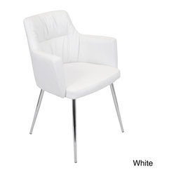 LumiSource - Jackson Modern Dining Chair - This modern dining chair features a stylish look composed of polyurethane, comfortable foam seating and shiny chrome legs. The chair is available in either a black or white option.