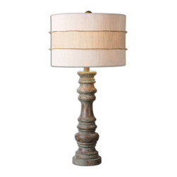 Uttermost - Gerlind Wooden Table Lamp - Heavily distressed dark pecan finish with a light gray wash. The round hardback drum shade is a crisp beige linen fabric with light subbing and a crude burlap wrap around the center.