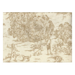"""Close to Custom Linens - 72"""" Tablecloth Round Toile with Stripe Topper Linen Beige - A charming traditional toile print in linen beige on a cream background. Includes a 72"""" round cotton tablecloth."""