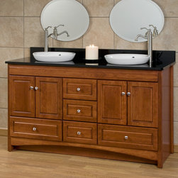 "60"" Treemont Vanity for Semi-Recessed Sinks - This large Treemont Vanity comes complete with two beautiful semi-recessed porcelain sinks, five drawers and four cabinet doors. It's also handcrafted of solid American hardwood."