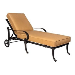 Woodard - Woodard Holland Adjustable Chaise Lounge - The name Woodard Furniture has been synonymous with fine outdoor and patio furniture since the 1930s continuing the company�s furniture craftsmanship dating back over 140 years. Woodard began producing hand-made wrought iron furniture which led the company into cast and tubular aluminum furniture production over the years.� Most recently Woodard patio furniture launched its entry into the all-weather wicker furniture market with All Seasons which is expertly crafted and woven using synthetic wicker supported by an aluminum frame.� The company is widely known for durable beautiful designs that provide attractive and comfortable outdoor living environments.� Its hand-crafted technique used to create the intricate design patterns on its wrought iron furniture have been handed down from generation to generation -- a hallmark of quality unmatched in the furniture industry today. With deep seating slings and metal seating options in a variety of styles Woodard Furniture offers the designs you want with the quality you expect.  Woodard aluminum furniture is distinguished by the purest aluminum used in the manufacturing process resulting in an extremely strong durable product which still can be formed into flowing shapes and forms.� The company prides itself on the fusion of durability and beauty in its aluminum furniture offerings. Finishes on Woodard outdoor furniture items are attuned to traditional and modern design sensibilities. Nineteen standard frame finishes and nineteen premium finishes combined with more than 150 fabric options give consumers countless options to design their own dream outdoor space. Woodard is also the exclusive manufacturer of outdoor furnishings designed by Joe Ruggiero home decor TV personality.� The Ruggiero line includes wrought iron aluminum and all weather wicker designs possessing a modern aesthetic and fashion-forward styling inspired by traditional Woodard patio furniture designs. Rounding out Woodard�s offerings is a line of distinctive umbrellas umbrella bases and outdoor accessories.� These offerings are an integral part of creating a complete outdoor living environment and include outdoor lighting and wall mounted or free standing architectural elements � all made with Woodard�s unstinting attention to detail and all weather durability. Woodard outdoor furniture is an American company headquartered in Coppell Texas with a manufacturing facility in Owosso Michigan.� Its brands are known under the names of Woodard Woodard Landgrave and Woodard Lyon Shaw. With a variety of collections Woodard produces a wide array of collections that will be sure to suit any taste ranging from traditional to contemporary and add comfort and style to any outdoor living space. With designs materials and construction that far surpass the industry standards Woodard Patio Furniture creates beauty and durability that is unparalleled.  Features include Very durable and light weight aluminum material Minimal maintenance required Suitable to be used anywhere outside Available in various powdered coated finishes Offered in wide variety of fabric options for cushions Super comfortable high quality cushions designed for extreme comfort Arm handles are offered for comfort and style Adjustable backrest designed for extreme comfort. Specifications Seat Height: 18.5 Inches.