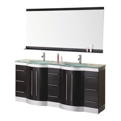 "Design Element - Design Element Jade 72"" Espresso Modern Double Drop-in Sink Vanity Set - The 72"" Jade double vanity is beautifully constructed of solid hardwood. The integrated tempered glass counter top and sleek curved sink bring contemporary elegance to any bathroom. Seated at the base of the double sinks are chrome finished pop up drains designed for easy one touch draining. A large mirror with accented espresso shelf and border is included. This sleek designed vanity has ample storage which includes nine drawers and two large double door cabinets accented with satin nickel hardware."