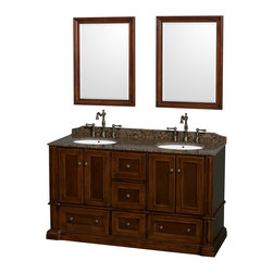 "Wyndham Collection - Rochester Bathroom Vanity in Cherry, Brown Granite Top, UM Sinks, 24"" Mirrors - Old world charm meets modern functionality with the Rochester line of traditional bathroom vanities. Designed to look great in any setting, from modest country home to palatial estate, the Rochester vanities will revive and renew your personal sanctuary. Natural stone tops give a touch of additional luxury and the antique bronze hardware adds the finishing touch. The down-to-the-floor base imparts a sense of weight and grandeur, while ample cupboard and drawer storage ensures the quality and practicality that the Wyndham Collection is known for."