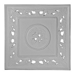 """Ekena Millwork - 28 3/4""""W x 28 3/4""""H Ashford Ceiling Tile - 28 3/4""""W x 28 3/4""""H Ashford Ceiling Tile. Our ceiling medallion collections are modeled after original historical patterns and designs. Our artisans then hand carve an original piece. Being hand carved each piece is richly detailed with deep relief, sharp lines and a truly unique touch. That master piece is then used to create a mould master. Once the mould master is created we use our high density urethane foam to form each medallion. The finished look is a beautifully detailed, light weight, solid construction, focal piece. The resemblance to original plaster medallions is achieved only by using our high density urethane and not vacuum formed, plastic type medallions. Medallions can be cut using standard woodworking tools to add a hole for electrical or a ceiling fan canopy. Medallions are light weight for easy installation. They are fully primed and ready for your paint."""