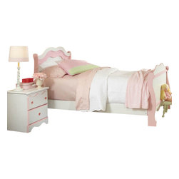 Standard Furniture - Standard Furniture Bubblegum 2-Piece Sleigh Bedroom Set in White and Pink - Bubblegum bedroom is adorably cute and charmingly sweet, and is lavished with lots of girlie-girl details.