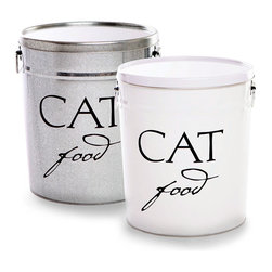 Classic Cat Food Container - Silver - Dropped side handles and a flat lid increase both the utility of the Classic Cat Food Container and its polished look of neatness. Create a task-oriented kitchen or mudroom while keeping your beloved pet's meals at their peak by storing dry food in this ample canister, which is crafted in a space-saving, straight-walled design that also lets the lettering show crisply.