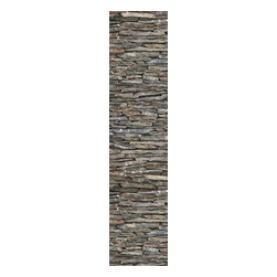"""Wizard & Genius - Stones Stripe Wall Decals - Bring a natural inspiration to your walls with this stone wall decal. In 3 easy to install peel and stick panels, this wall art creates a strip of stacked stones in an organic mix of slate grey hues. Contains three 18.5"""" x 26.75"""" sheets - 18.5"""" x 80.25"""" assembled. Imported from Germany."""