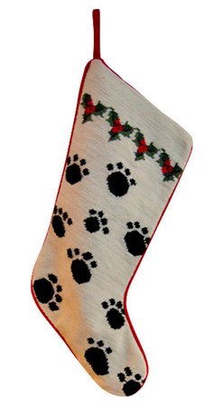 Paw Prints Holly Holiday Stocking - A timeless tradition to carry on with our precious hand-stitched Needlepoint Paw Prints Holiday Stocking. A beautiful treasure to be adored and passed down from year to year. Perfect for your 'other children' and dog lovers!