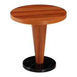 White Line Imports - Basil Round Side Table - Featuring an undoubted convenience and cherry veneer, the table looks great in any interior style, saving space and providing good looks. ThisBasil Round Side Table is constructed from cherry veneer and durable faux marble base.