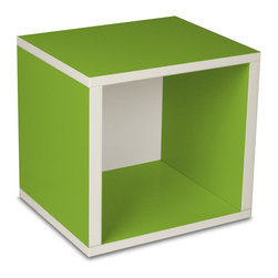 Way Basics - Cube, Green - Think inside the box! Create more space in close quarters with stackable modular storage cubes. Simple no-tool construction — just peel and stick — means you can build 'em in nothing flat. They're durable, versatile and formaldehyde- and VOC-free.