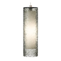 LBL Lighting - LBL Lighting Rock Candy Smoke 32W Pendant 1 Light Foyer Pendant - LBL Lighting Rock Candy Smoke 32W Pendant 1 Light Foyer PendantThe uniquely beautiful texture of this majestic pedant is created by skilled craftspeople using a laborious process. First, Smoke glass is mouth-blown into a cylinder shape, this cylinder shaped glass is then rolled in Smoke crystal frit, and finally it is fired at high temperatures to fuse the components together to create a uniquely stylish piece. Lit from within by an energy-efficient 32 watt GX24Q-3 base triple tube CFL, this piece will add both style and sustainability to your home.LBL Lighting Rock Candy Smoke 32W Pendant Features: