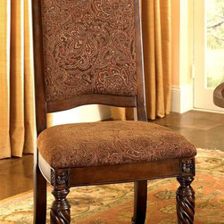 Millwood by ivgStores - Upholstered Side Chair w Carved Top & Rope-Tw - Add elegance to your dining area with this set of two side chairs. Both feature an upholstered seat and back with intricately patterned fabric to provide both style and maximum comfort. Decorative legs and accents combined with a warm wood finish make this set perfect for any formal dining room. Set of 2 Chairs. Collection: North Sea. Color/Finish: Dark Brown. Constructed with select hardwood veneers, hardwood solids and furniture grade resin. Some assembly required. 23 in. W x 27 in. L x 47 in. H