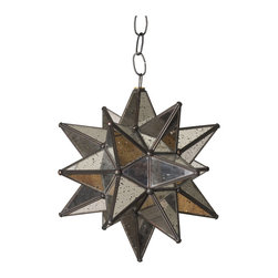 Mini Antique Mirrored Star Light - Just the right size for some soft light when that's all you need. The antiqued look of this hanging light adds aged character to your bath.
