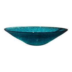 "Fire Dancers Glass / NC, USA - Confetti Vessel Sinks, Teal, Individual - Fire Dancers Glass vessel sinks are handmade in North Carolina.  Individually hand crafted, each sink  is unique and will vary slightly in size and shape.  Most are between 15"" to 16"" in diameter and between 4"" to 5"" tall.  Being hand blown, the deep rich colors are floating within the thick crystal clear glass."