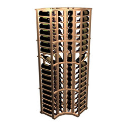 Wine Cellar Innovations - Curved Corner Display Wine Rack (Prime Mahogany - Unstained) - Choose Wood Type and Stain: Prime Mahogany - Unstained. Bottle capacity: 72. Four column wine rack. Beveled ends and rounded edges. Labels are safe from tearing. 25 in. W x 25 in. D x 72 in. H (37 lbs.). Designer collection. Made in USA. Warranty. Assembly Instructions. Rack should be attached to a wall to prevent wobbleThe added display bottle feature helps identify wines with full label visibility. The 15 degree angle of the display bottle keeps your cork moist. The 90 degree Curved Corner allows your racking to make a flowing transition from wall to wall. This corner treatment adds a decorative touch to your wine cellar.