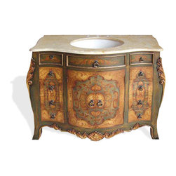 Koenig Collection - Old World French Venecia Vanity, Green Pearl Crackle with Travertine Marble Top - Venecia Vanity,