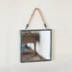 Beach Den Wall Mirror - It�s cool to be square these days. With its metal frame and rope hanger, this industrial-chic mirror can be hung in any room in your beach-friendly home.