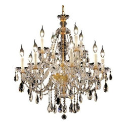 Elegant Lighting - Elegant Lighting 7829D28G Alexandria 12-Light, Single-Tier Crystal Chandelier, F - Elegant Lighting 7829D28G Alexandria 12-Light, Single-Tier Crystal Chandelier, Finished in Gold with Clear CrystalsElegant Lighting 7829D28G Features:
