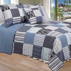 None - Daniel Quilt Set - Patches of striped and plaid material are put together into a beautiful quilt set. Its blue hues and patchwork pattern give the bedding country charm. Its soft cotton material is lightweight enough to be used throughout the year.