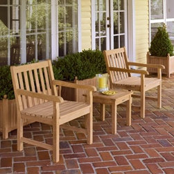 Oxford Garden Chadwick Chat Set - Additional featuresChair: 23W x 26.5D x 35H inches (ea)Table: 17.5L x 17.5D x 16.5H inchesUnfinished wood can be stained or treated if preferredGently arching backrest design softens overall lookArms sculpted with a 35-degree radius for a comfortable feelDeep seat has an ergonomic curveMortise and tenon joint construction adds strength and longevityCushions aren't necessary for comfort but can be added at checkoutGrab a friend and settle in for a good long talk with the Oxford Garden Chadwick Chat Set. Classically designed each chair and the matching end table are made with exceptional craftsmanship and attention to detail. Crafted by Oxford Garden is made of quality shorea wood a tropical hardwood. Shorea is closely related to teak and is therefore well-suited for use in furniture making. It is renowned for its strength durability and beauty. Like teak shorea has natural oils that allow it to withstand the effects of sun rain snow and frost.Shorea Wood: An Eco-Friendly ChoiceLike teak it's more expensive counterpart Shorea is a high-quality hardwood praised not only for its looks but also for its longevity and resistance to decay. Shorea is hard and dense like teak. In fact it possesses an even tighter wood grain making it heavier denser and harder than teak and both woods are extremely resistant to decay. Shorea wood contains a comparatively high oil content which not only enhances its defenses against the ravages of time and changing climate but also against destructive insect infestations. So if teak and Shorea are so similar why does teak cost up to twice as much? Shorea's lower cost can be attributed to its abundance compared to teak's rarity.This abundance of supply is also what makes Shorea a green choice. Shorea wood is carefully regulated. Only mature trees can be legally harvested. This ensures a steady supply of Shorea wood while also protecting irreplaceable forests. Because Oxford Garden obtains their Shorea wood from superior sources minimal processing is required to bring out the wood's stunning color and grains. This means less chemicals used. Oxford Garden's factories use recycled wood to fuel production kilns. They take steps to conserve natural resources and the result is a smaller carbon footprint.Why Choose Oxford Garden?Exquisite pieces and impressive product assortment aside there are several factors that set Oxford Garden apart from the competition. First Oxford Garden starts with the best Shorea wood sources. This results in more beautiful more durable furniture. The next thing that distinguishes them is their unrivaled craftsmanship. They take pride in meticulous construction of each product. In fact Oxford Garden has a unique multiple quality checkpoint system to be sure you're getting the best. Most of their products go through rigorous consumer safety tests and before they package any product they put it together themselves to ensure it assembles seamlessly for you. Thirdly Oxford Garden believes furniture should be comfortable and attractive. They create ergonomic pieces designed to accommodate the contours of the human body. Finally by using Shorea wood Oxford Garden is able to bring you affordable luxury. Their superb craftsmanship ensures longevity for years of enjoyable use while their incomparable designs are centered on comfort and beauty.