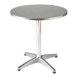 """Eurostyle - Allan 31.5"""" Round Table-Stainless/Aluminum - Stainless top with wraparound edge"""