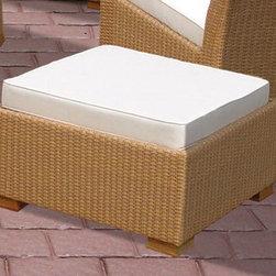 Royal Teak Charleston Footrest Honey - *All-weather wicker footrest with teak feet