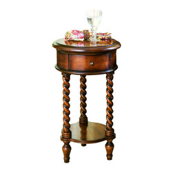 "Hooker Furniture - Hooker Furniture 14in. Inlay Top Round Accent Table - This traditional-styled accent table features a top with an inlaid star motif. It has three twist legs separated by a lower shelf. It has one drawer perfect for storing remote controls. Hardwood Solids with Maple, Cherry & Chestnut Burl Veneers. Dimensions: 14.5""W x 14.5""D x 26""H."
