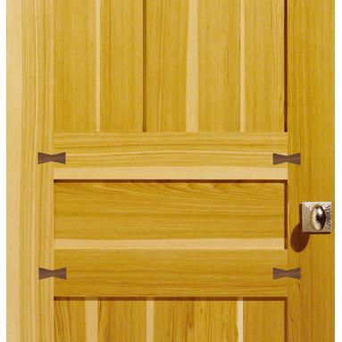 Veneer Inlay Doors - Hickory Interior stile & rail door with Walnut veneer inlay
