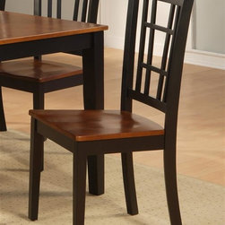 East West Furniture - Nicoli 18 in. Dining Chair w Wooden Seat - Se - Set of 2. Simple geometric back. Made from Asian rubber solid wood. Polished black and saddle brown finish. Assembly required. 18 in. W x 18 in. D x 38.5 in. H (35 lbs.)
