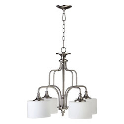 Joshua Marshal - Four Light Satin Nickel Satin Opal Glass Down Chandelier - Four Light Satin Nickel Satin Opal Glass Down Chandelier