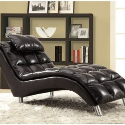 Monarch Leather-Look Chaise Lounger - With it's exquisite bisquet back cushioning, the Monarch Leather-Look Chaise Lounger is a true modern marvel. Wrapped in rich, dark brown bonded leather, this chaise lounger will be the central focus of any room. Its contemporary style is enhanced by brushed silver legs. Stretch out and relax your head on its padded head rest, this chic lounger is ready to accommodate. About Monarch InternationalMonarch International Inc. is a leader in home style products manufactured from metal, and combinations of wood and glass. Their roots lie in manufacturing metal badges and buttons for the Indian Army. From there, they evolved and diversified into other products and Monarch started selling hand-crafted goods and lifestyle accessories in the United States and other global markets. Their corporate policy is based on the principles of partnership, trust, service and an unwavering commitment to quality products.