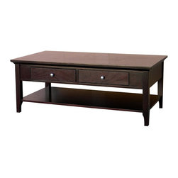 DonnieAnn - Wooden Coffee Table - Frame/Leg Material: Poplar. Tabletop Material: Wood Composite, MDF & Okume veneerMetal Finish: Brushed Nickel door knobTwo Drawers & One shelfCare and Cleaning: Wipe Clean With a Dry ClothDrawer: 13 in. x 14.5 in. x 2 in.. Shelf: 42 in. x 20.5 in.. Overall: 47.5 in. W x 23.5 in. D x 18.25 in. H (63 lbs)Living room coffee table in beautiful espresso finish with two drawers and one shelf. 2 large drawers are perfect for your storage needs. Modern style and color will go with your other home deco.