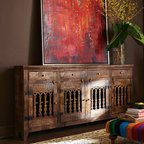 """""""Harrieta"""" Console - Carved """"grillwork"""" and unusual door latches add intrigue to this impressive console. Handcrafted of reclaimed Asian hardwood. Four doors, four shelves, and four drawers. 80""""W x 13""""D x 40""""T. Imported."""