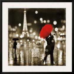 Artcom - A Paris Kiss by Kate Carrigan Artwork - A Paris Kiss by Kate Carrigan is a Framed Art Print set with a SOHO Thin wood frame and a Polar White mat.