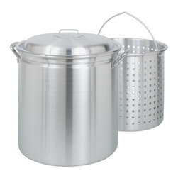 Barbour Int'L - 60Qt Stockpot Steamer/Basket - 99 percent restaurant grade aluminum. Side stockpot indentation elevates basket above bottom of pot for steaming. Heavy riveted handles. Vented lid.            Cap Qt=60Dia In=17-5/8