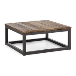 Solid wood and metal square coffee table Civic Center - Coffee table Civic Center has a very simple but still very stylish and practical design. The table top is made of solid elm wood and the frame is made of antiqued metal.