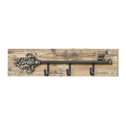 Benzara - Clever Key Shaped Wall Plaque with Key Hooks - Clever Key Shaped Wall Plaque with Key Hooks. This clever wall plaque that's as useful and functional as it is beautiful.