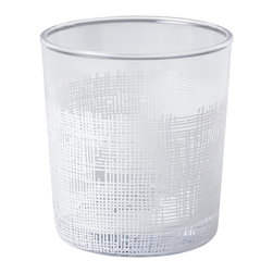 Kathy Kuo Home - Icicle Hollywood Regency White Crosshatch Short Rocks Glasses - Set of 6 - Classic rocks glasses get a modern update with delicate white crosshatch details. The elegant barware holds the perfect serving of your favorite drink for a cheerful toast and enjoyable evening. A set of six comes together with individual glasses available separately.