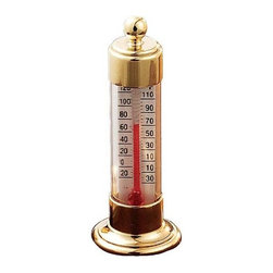 ConantCustomBrass - Vermont Dial Thermometer Living Finish Brass - Dial Thermometer, Solid Brass, Conant Vermont Collection . Solid Brass dial thermometer with glass crystal. 4.25 inch dial with reversible mounting arm & bracket. Scale in Farenheit and Celsius, range from -40 to 120F.Mounting hardware and screws included