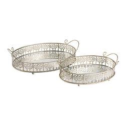 Sterling - Sterling 51-0148 Sterling Set Of 2 Lasko Mirror Trays - Sterling 51-0148 Sterling Set Of 2 Lasko Mirror Trays