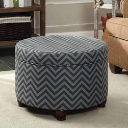 Kinfine - Gray/Glacier Blue Chevron Large Round Storage Ottoman - Add multi-functional style to your home with this gray/glacier blue storage ottoman. This statement piece comes in fun fashion patterns and can be used to store magazines, throws, toys, accessories or anything else that is taking up too much space.