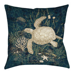 None - Thumbprintz Sea Turtle Vignette Indoor/ Outdoor Throw Pillow - This accent pillow's underwater image and color scheme lends a coastal feel to your patio,bedroom or living room. Ideal decor for a nautical theme,the two-sided artist-created design on water-repellent fabric features a swimming sea turtle.