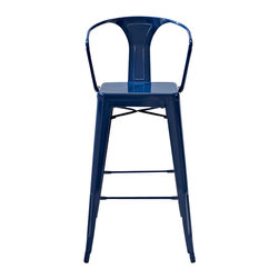 Crosley - Amelia Metal Cafe Barstool with Back, Blue - Originally made famous in the quaint bistros of France, these midcentury replicas of original cafe seating will offer a dose of nostalgia combined with careful consideration for your wallet. This inspired revival evokes a sense of a true vintage find. (Sold in Pairs)