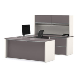 Bestar - Bestar Connexion Slate & Sandstone 71 x 93 U-Shaped Workstation Desk - The desk is made of durable 1 inch commercial grade work surface with melamine finish that resist scratches stains and wears. It features an impact resistant 0.25 cm PVC edge. Grommets and a rubber strip are available on the station for efficient wire management. The executive desk the credenza the hutch and the bridge meet or exceed ANSI/BIFMA performance standards. The hutch for credenza offers two flip up doors large closed storage space efficient wire management and two large paper shelves. The doors are fitted with strong lift up hardware. The oversized pedestal offers two file drawers with letter/legal filing system. The drawers are on ball-bearing slides and the keyboard drawer features double-extension slides for a smooth and quiet operation. The station is fully reversible. Also available in Bordeaux and Slate finish. Connexion is a contemporary and durable collection that features a wide variety of configuration options that will adapt to your specific needs.Nowadays performance productivity and quality of life are fundamental to achieving our personal and professional goals. Bestar's home and office furniture design is based upon these criteria as well as on today's reality. On average we spend about 40 hours a week at work (home or office) which represents a large portion of our time. Various factors have a direct impact on our well-being at work: an important concern in the current employment environment continually changing and at an ever-increasing pace. Therefore organizing your space is certainly a parameter to consider. Features include Strong and large work surface Plenty of room to organize your documents Storage space for your documents and personal items. Specifications Finish/color: Slate & Sandstone.