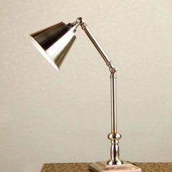Chrome Finish Swim Arm Desk Lamp - Add valuable supplemental lighting to any room in the home with this contemporary metal task lamp. This lamp features a painted chrome finish and is crowned with a linen fabric shade for an up-to-the-minute look in your space. Free Shipping when you buy Chrome Finish Swim Arm Desk Lamp at Parrotuncle- Great Deals on all Light products with the best selection to choose from!